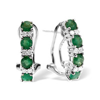 Emerald 1.10CT And Diamond 9K White Gold Earrings