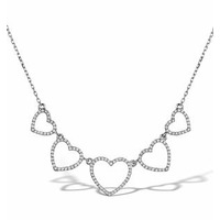 Vivara Collection 0.47ct Diamond 9K White Gold Heart Necklace D3406y