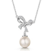 Pearl and Diamond Bow Stellato Necklace 0.05ct in 9K White Gold