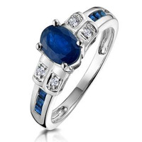 Sapphire 1.25ct And Diamond 9K White Gold Ring