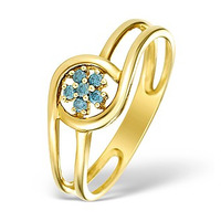 9K Gold Blue Diamond Design Ring - E4188