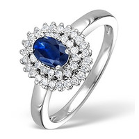 Sapphire 4 x 6mm And Diamond 9K White Gold Ring
