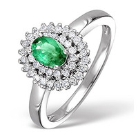 Emerald 0.45ct And Diamond 9K White Gold Ring