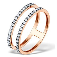 Vivara Collection Black Rhodium Diamond 9K Rose Gold Ring E5946