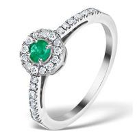Emerald Halo Martini 0.25CT Diamond Ring in 9K White Gold E5967