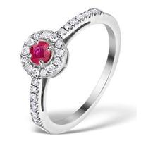 Ruby Halo Martini 0.25CT Diamond Ring in 9K White Gold E5960