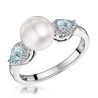 Pearl Blue Topaz and Diamond Stellato Ring 0.07ct in 9K White Gold