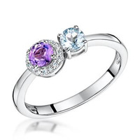 Amethyst Blue Topaz and Diamond Stellato Ring 0.05ct in 9K White Gold