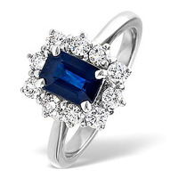 Sapphire 1.15ct And Diamond 0.50ct 18K White Gold Ring