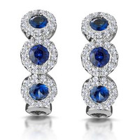 Sapphire and Diamond Earrings 18K White Gold - Asteria Collection