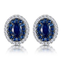 Sapphire and Diamond Halo Earrings 18K White Gold - Asteria Collection