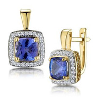 3ct Tanzanite and Diamond Halo Earrings 18K Gold - Asteria Collection