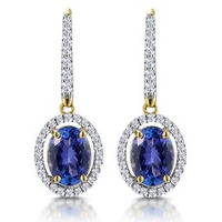 1.6ct Tanzanite and Diamond Halo Earrings 18K Gold Asteria Collection