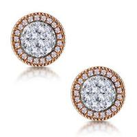 Diamond and Pink Diamond Halo Asteria Circle Earrings 18K Rose Gold