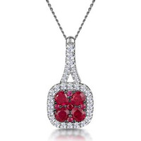 Ruby and Diamond Halo Necklace in 18K White Gold - Asteria Collection