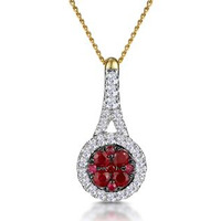 Ruby and Diamond Halo Circle Necklace in 18K Gold - Asteria Collection