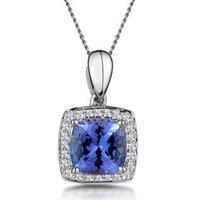 2ct Tanzanite and Diamond Halo Square Asteria Necklace in 18KW Gold