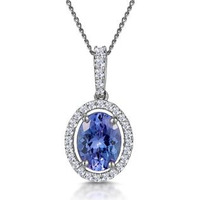 1ct Tanzanite and Diamond Halo Oval Asteria  Necklace in 18KW Gold