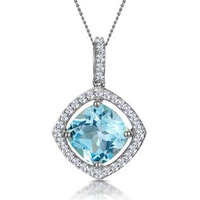 5.40ct Blue Topaz and Diamond Halo Asteria Necklace in 18K White Gold