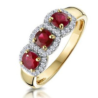 Ruby and Diamond Halo Trilogy Ring in 18K Gold - Asteria Collection