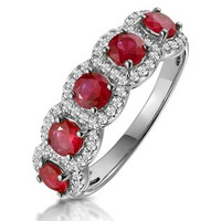 Ruby and Diamond Halo 5 Stone Asteria Ring in 18K White Gold