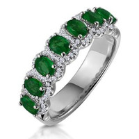 Emerald and Diamond Halo Eternity Ring 18KW Gold Asteria Collection