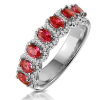 Ruby and Diamond Halo Eternity Ring in 18KW Gold - Asteria Collection