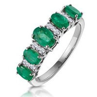 Emerald and Diamond Eternity Ring 18K White Gold - Asteria Collection