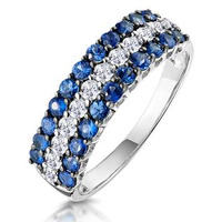 Sapphire and Diamond Triple Row Asteria Eternity Ring 18K White Gold