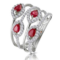 Ruby and Diamond Halo Statement Ring in 18KW Gold - Asteria Collection