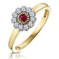 Ruby and Diamond Halo Ring in 18K Gold - Asteria Collection