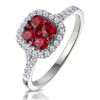 Ruby and Diamond Halo Square Ring 18K White Gold - Asteria Collection