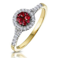 Ruby and Diamond Halo Circle Ring in 18K Gold - Asteria Collection