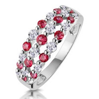 Ruby and Diamond 3 Row Ring in 18K White Gold - Asteria Collection
