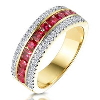 1ct Ruby and Diamond Eternity Ring in 18K Gold - Asteria Collection