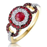 0.90ct Ruby and Diamond Cirlces Ring in 18K Gold - Asteria Collection