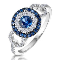 0.90ct Sapphire and Diamond Cirlces Ring 18KW Gold Asteria Collection
