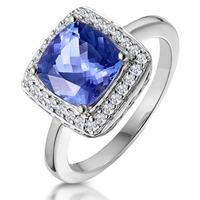 2ct Tanzanite and Diamond Statement Ring in 18K - Asteria Collection
