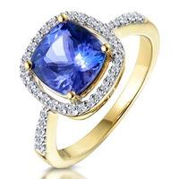 2ct Tanzanite and Diamond Shoulders Asteria Ring in 18K Gold