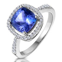 2ct Tanzanite and Diamond Shoulders Asteria Ring in 18K White Gold