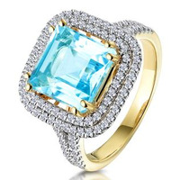 5.40ct Blue Topaz and Diamond Asteria Statement Ring in 18K Gold