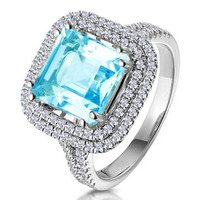 5.40ct Blue Topaz and Diamond Asteria Statement Ring in 18KW Gold
