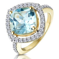 4.7ct Blue Topaz and Diamond Shoulders Asteria Ring in 18K Gold