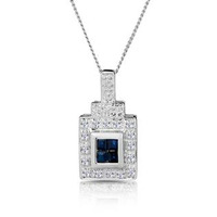 Sapphire 17 x 5 mm And Diamond 9K White Gold Pendant