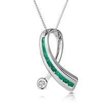 Emerald 0.22CT And Diamond 9K White Gold Ribbon Pendant