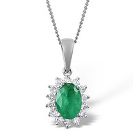 Emerald 7 x 5mm And Diamond 9K White Gold Pendant