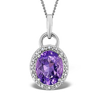 Amethyst 2.34CT And Diamond 9K White Gold Pendant