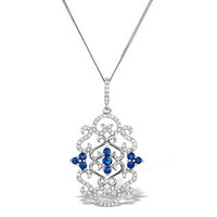Vivara Collection Diamond and Sapphire 9K White Gold Pendant G4069