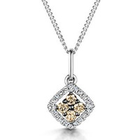 Stellato Champagne Diamond Pendant 0.16ct in 9K White Gold