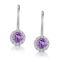 Amethyst 0.57CT And Diamond 9K White Gold Earrings